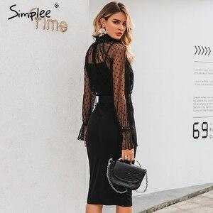 Image 4 - Simplee 섹시한 줄무늬 레이스 여성 드레스 블랙 폴카 도트 벨트 칼집 파티 드레스 퍼프 슬리브 가을 겨울 사무실 숙녀 드레스