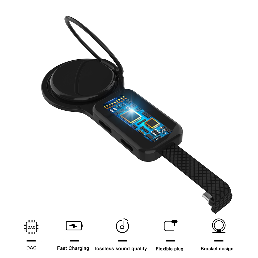 USB C Dual Adapter & Ring Holder USB C 3.5mm Aux Audio Charger Adjust Phone Holder Fast Charging For Type-C Android Adapter