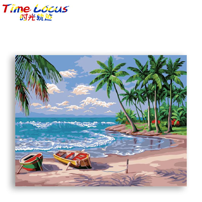 Painting By Numbers Kit Coloring Wall Art Beach Picture Home Decor Acrylic Canvas Painting By Numbers For Wedding Decoration