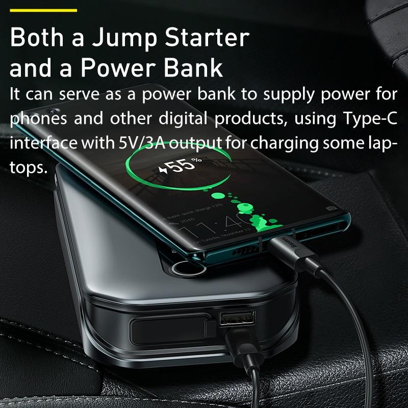 Baseus – démarreur de saut de voiture 1000A, batterie Portable 12000mAh, Station de démarrage d'urgence pour voiture 3.5L/6L 6
