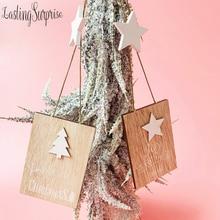 1Pcs Wooden Christmas Pendants Xmas Hanging Ornaments Tree Decor Noel 2019 Cristmas Decoration For Home