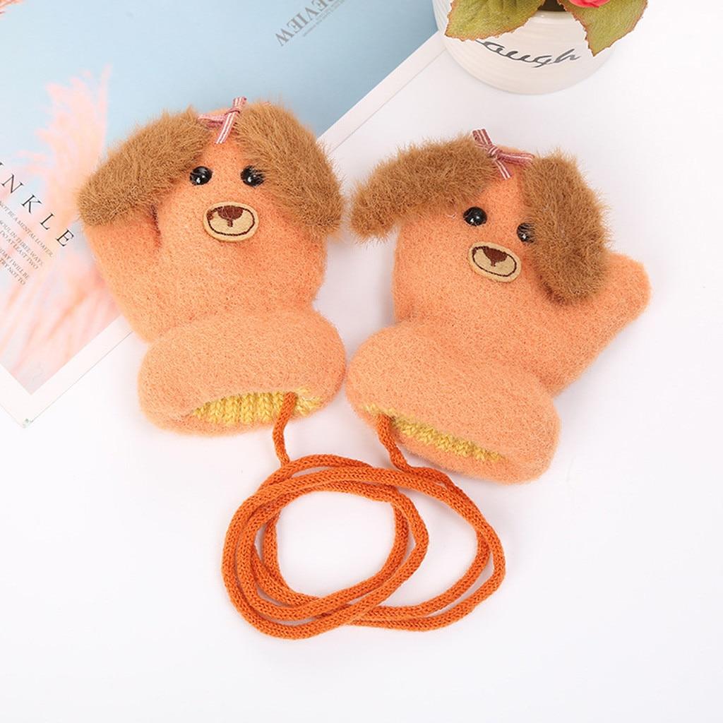 Детские теплые трикотажные зимние перчатки с милыми мультяшными животными для мальчиков и девочек, милые Мультяшные перчатки для детей, теплые зимние перчатки