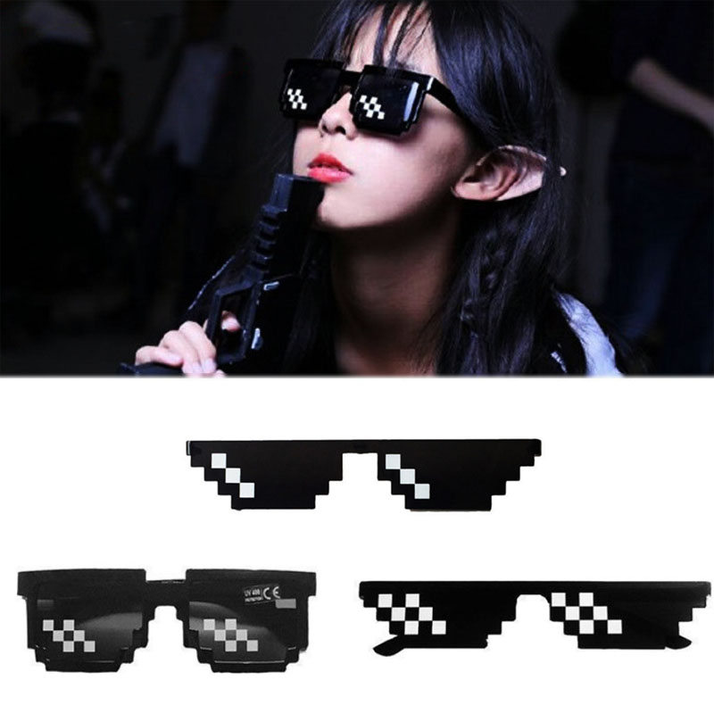 Fashion Cool Black Unisex Eye Glasses Deal Eyewear 1PC New With IT Thug Life Sunglasses Men 8 Bit Pixel