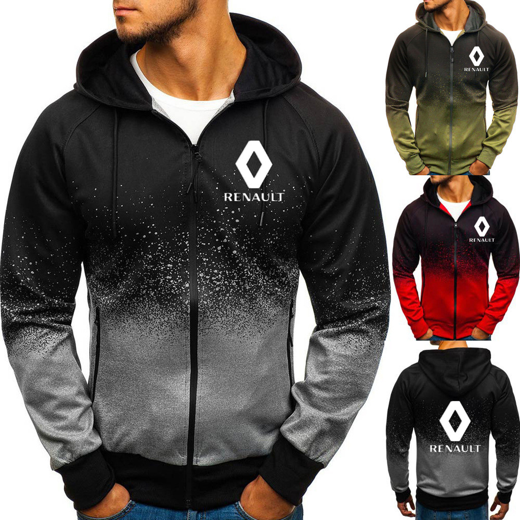 New Fashion Men Hoodie Coat Renault Fleece Hoodies Slim Jackets Sweatshirt Cardigan Renault Logo Men Clothing Coat