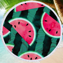 Watermelon Printing Summer Beach Towel Living Room Yoga Mat Outdoor Camping Picnic Mat 150cm Round Soft Microfiber Bath Towel