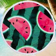 Watermelon Printing Summer Beach Towel Living Room Yoga Mat Outdoor Camping Picnic Mat 150cm Round Soft Microfiber Bath Towel
