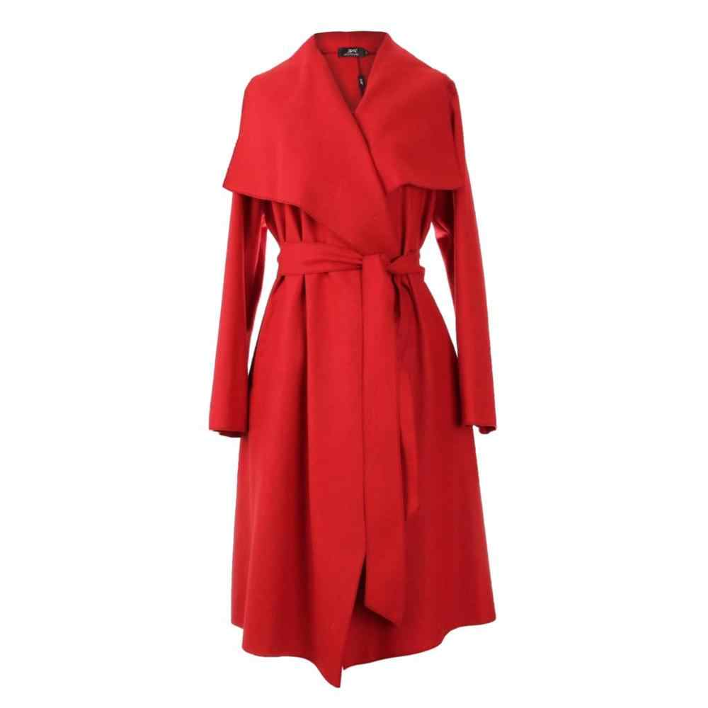 JAZZEVAR 2019 New Autumn High Fashion Women's Wool Blend Trench Coat Casual Long Outerwear Loose Clothing for lady 860103