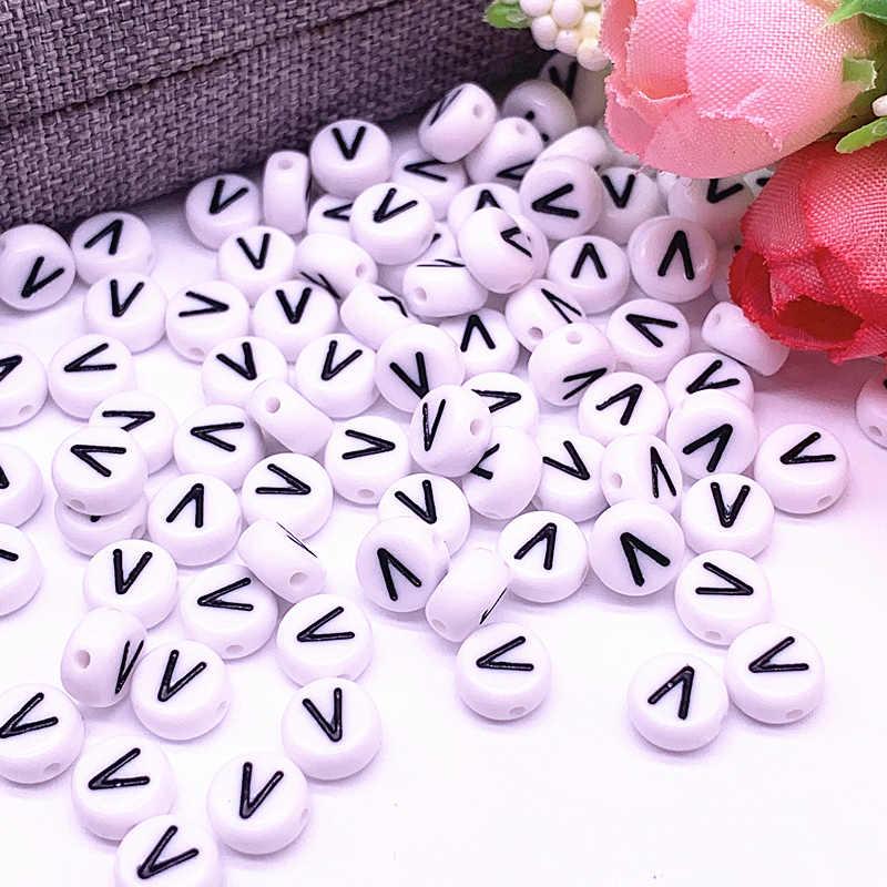 100 adet/grup 7x4mm 26 mektubu boncuk yuvarlak şekil boncuk alfabe mektubu Charms yapmak için takı aksesuarları