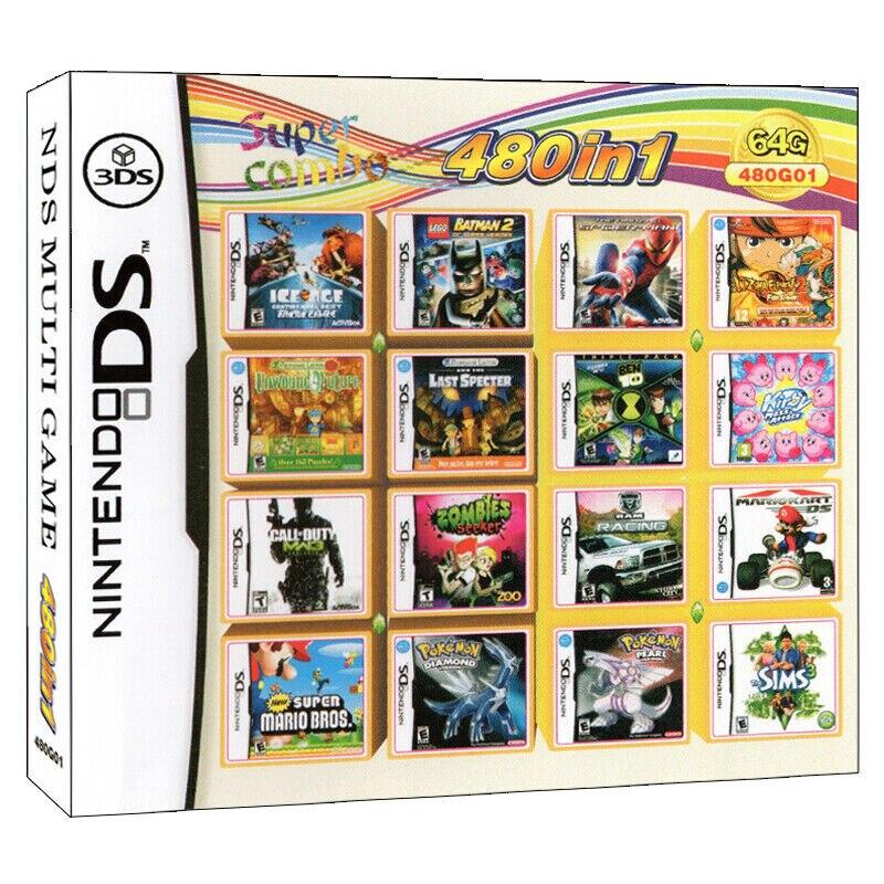 480 В 1 классические Super Mario Bros Кирби Покемон подборка видео игровая карта-картридж консоли мульти телега DS DSI 3DS XL детские игрушки