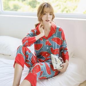 Image 5 - JULYS SONG  Woman Fashion Printing Pajamas Cotton Womens Trousers Pajamas Set Casual Large Size Soft Floral Sleepwear Suit
