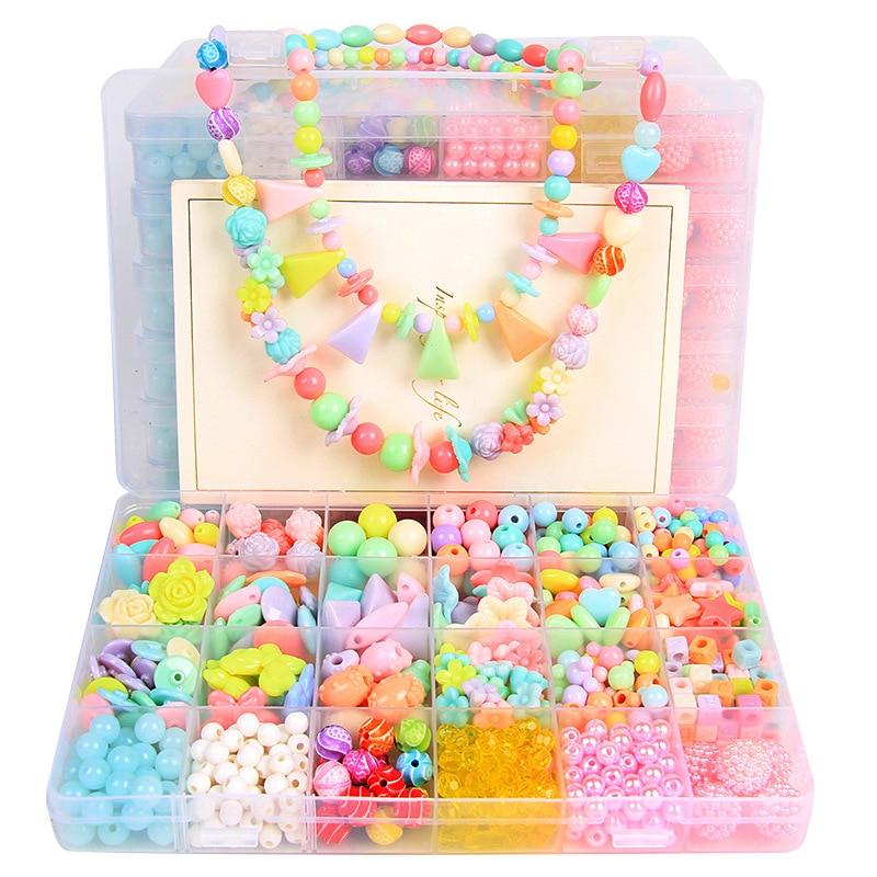 24 Lattice Children Bead Toy GIRL'S DIY Wear Beads Bracelets Necklace Material Kindergarten Handmade Material