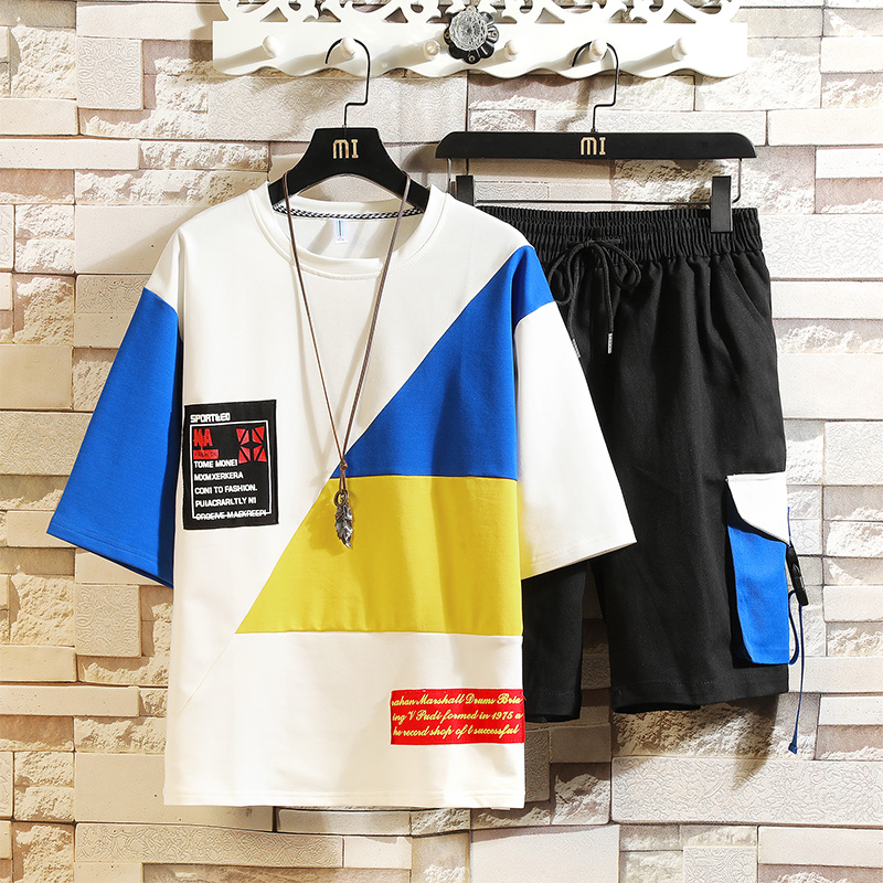 New Summer Sets 2 Pieces T-shirts+Shorts For Men Sets  Male Casual Tracksuits High Quality Men Cotton Loose Short Pants Sets
