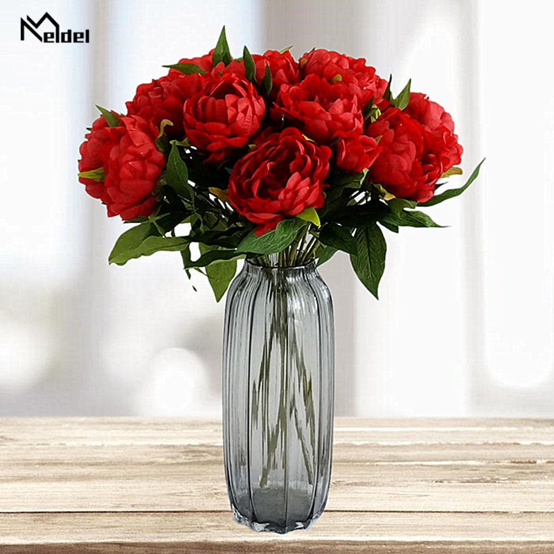 3 Heads Peonies Artificial Flowers Wedding Scene Layout Silk Peony Flowers Living Room Desk Home Decor Fake Flowers Accessories