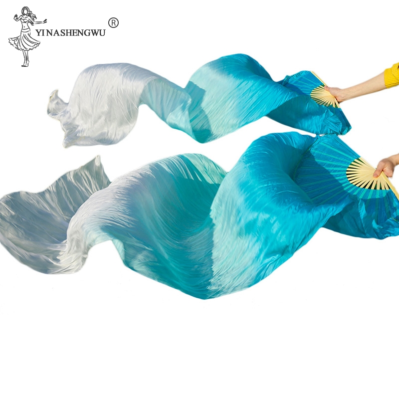 Hot Sell Cheap Kids Women Belly Dancing Fan Veils Gradient Color Dancer Practice Imitation Silk Fan 1pair/1pc Long 120/150/180cm