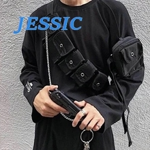 JESSIC Casual Waist Bags Unisex For Teenage Girl Boy Crossbody Fashion Chains Multi-pocket Chest BagCool Hip Hop Street New