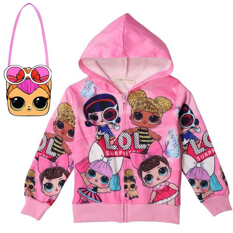 Child Surprise Cartoon Children LOl Jacket Girl Girl Doll Zip Shirt Cartoon Baby Jacket + Bag 2 Piece Set