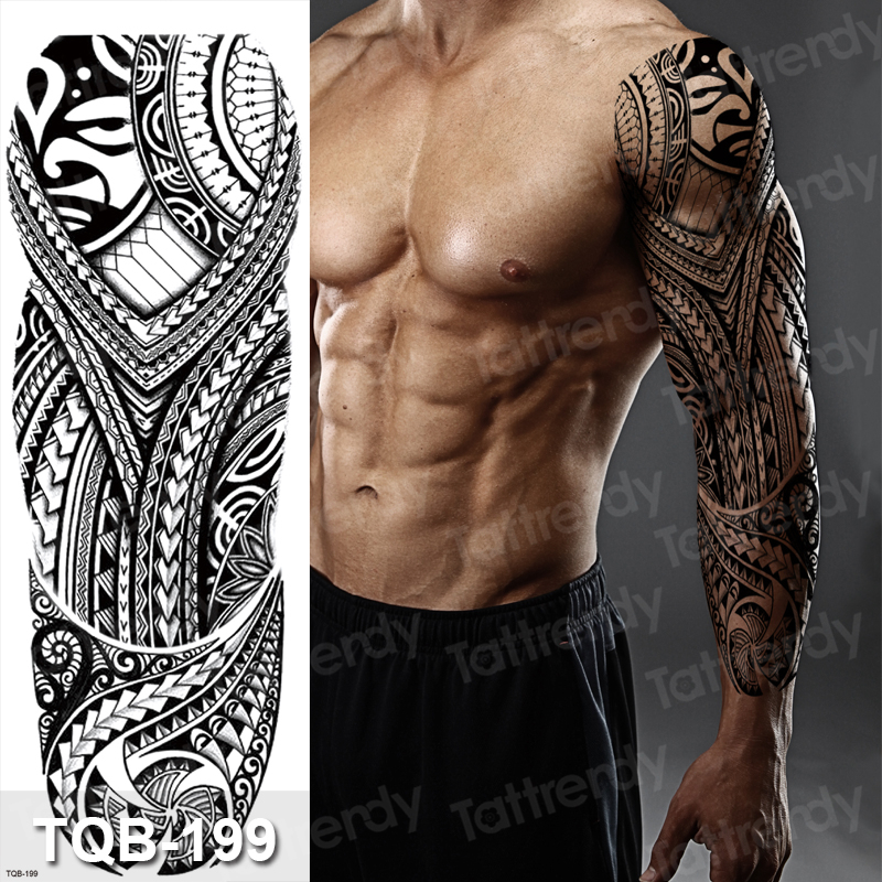 Temporary Tatoo Men Large Waterproof Temporary Arm Sleeve Tattoo Black Robot Mechanical Tattoos Tribal Lion Head King Fox Design