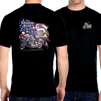 American Pride Eagle With Motorcycle T-Shirt Cotton O-Neck Short Sleeve Men's T Shirt Size S-3XL short sleeve cartoon eagle and american flag print t shirt