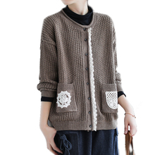 Cardigan Lace Outwear Women Sweater Knit O-Neck Loose Vintage Autumn Retro Hem Wool