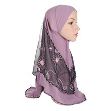 H012a high quality medium size muslim amira hijab with embroidery net pull on islamic scarf girls headscarf(China)