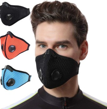 1Pcs bacteria proof Flu Face masks Care Neoprene Black mouth Mask anti dust mask Activated carbon filter Windproof Mouth-muffle