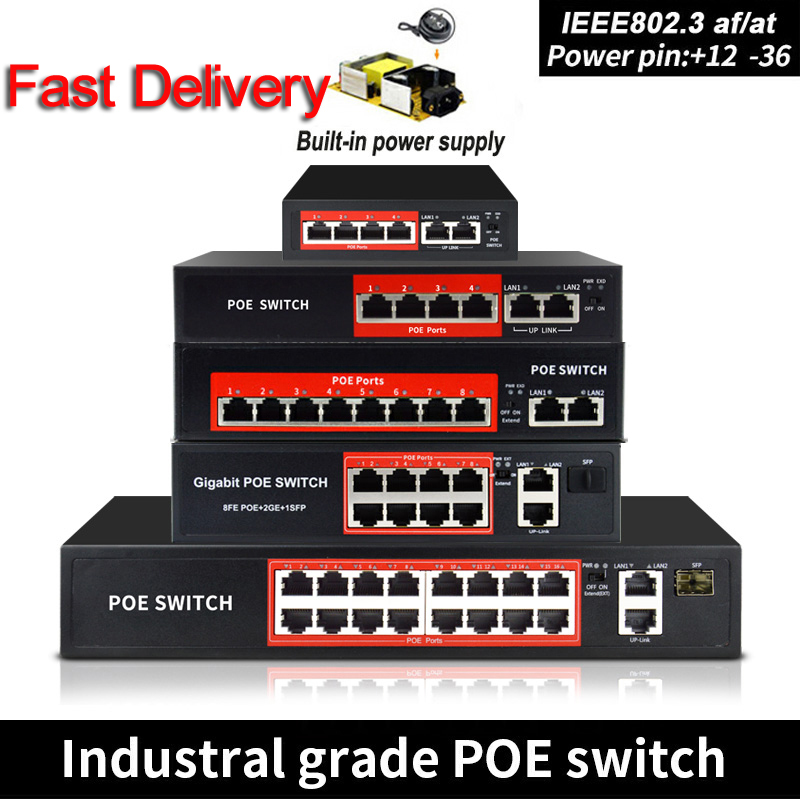 48V POE switch Ethernet with 6 RJ45 Network Ports IEEE 802.3 af/at protocol Suitable for CCTV camera system/Wireless AP