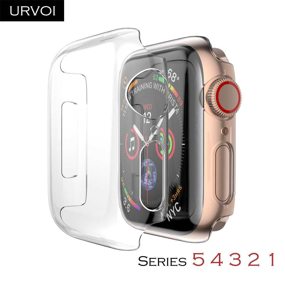 Capa completa urvoi para apple watch, capa para apple watch série 5 4 3 proteção com estrutura para tela para iwatch capa fina banda 40 44mm