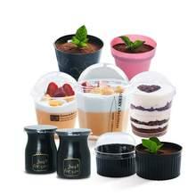 Одноразовый стакан для Тирамису, мусс, пластиковая чашка для молочных пудингов, чашка с крышкой и ложкой для десерта