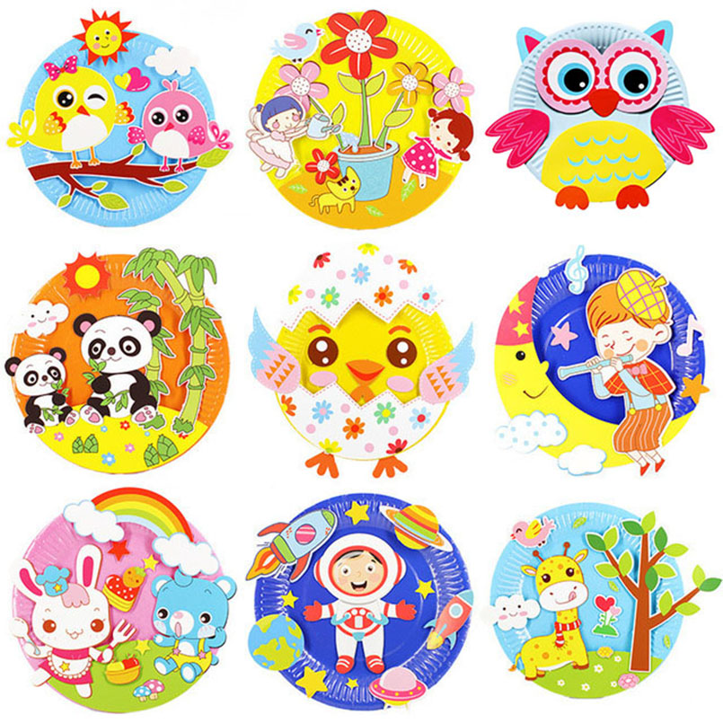 4Pcs Children 3D DIY Paper Tray Sticker Painting Toys Art Crafts Handmade Kindergarten Creative Paste Kids Toy For Girls Gift