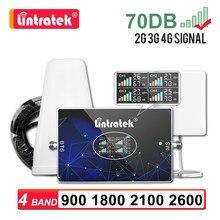Novo quatro banda repetidor de sinal gsm 2g 3g 4g lintratek amplificador lte 800 900 1800 2100 2600 b5 850 telefone celular impulsionador 70db kit