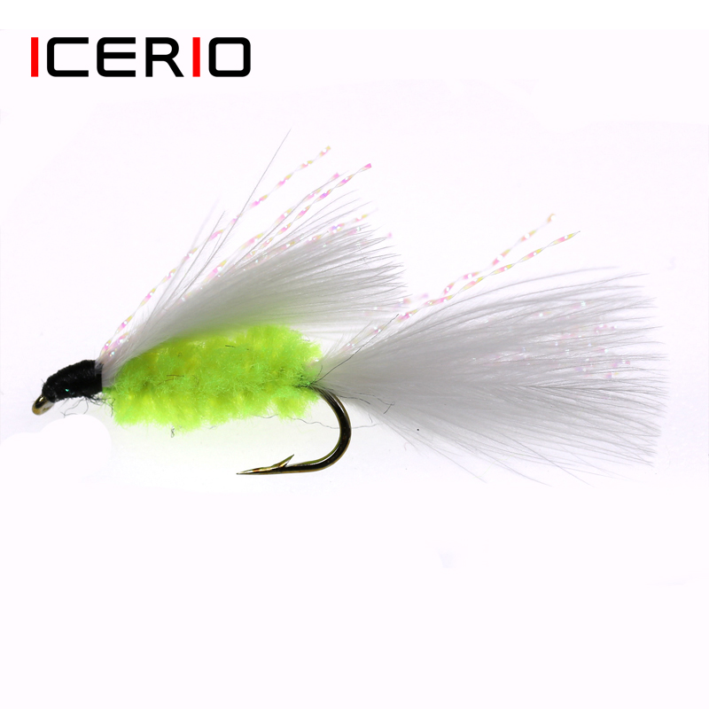 ICERIO 8PCS Cat's Whisker Streamers Fly Tying Hook Trout Fishing Fly Lures Bait #10