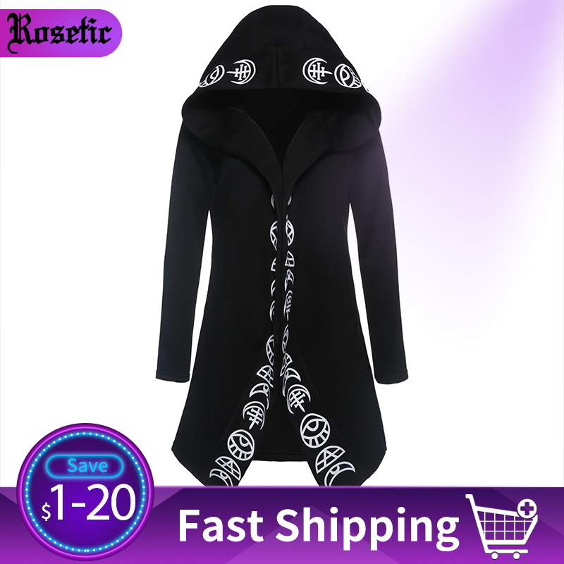 Rosetic Punk Gothic Hoodies Casual Cool Chic Black Plus Size Women Sweatshirts Loose Cotton Hooded Plain Print Female Hoodies