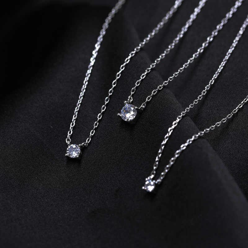 エレガントな 925 スターリングシルバー光沢のあるジルコン幾何学ネックレス 0.3 センチメートル/0.4 センチメートル/0.5 センチメートルシルバーoチェーンネックレス女性の宝石商