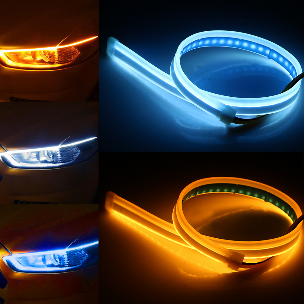 LEEPEE Car LED Strip DRL 30 45 60cm Daytime Running Light White Turn Signal Lamps Yellow Flexible Soft Tube Guide Ultrafine 12V