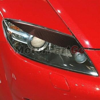 Real Crabon Fiber Head light Eyelid Eyebrow Cover Trim 1pair for  MAZDA RX-8 RX8 04-08 T202 1