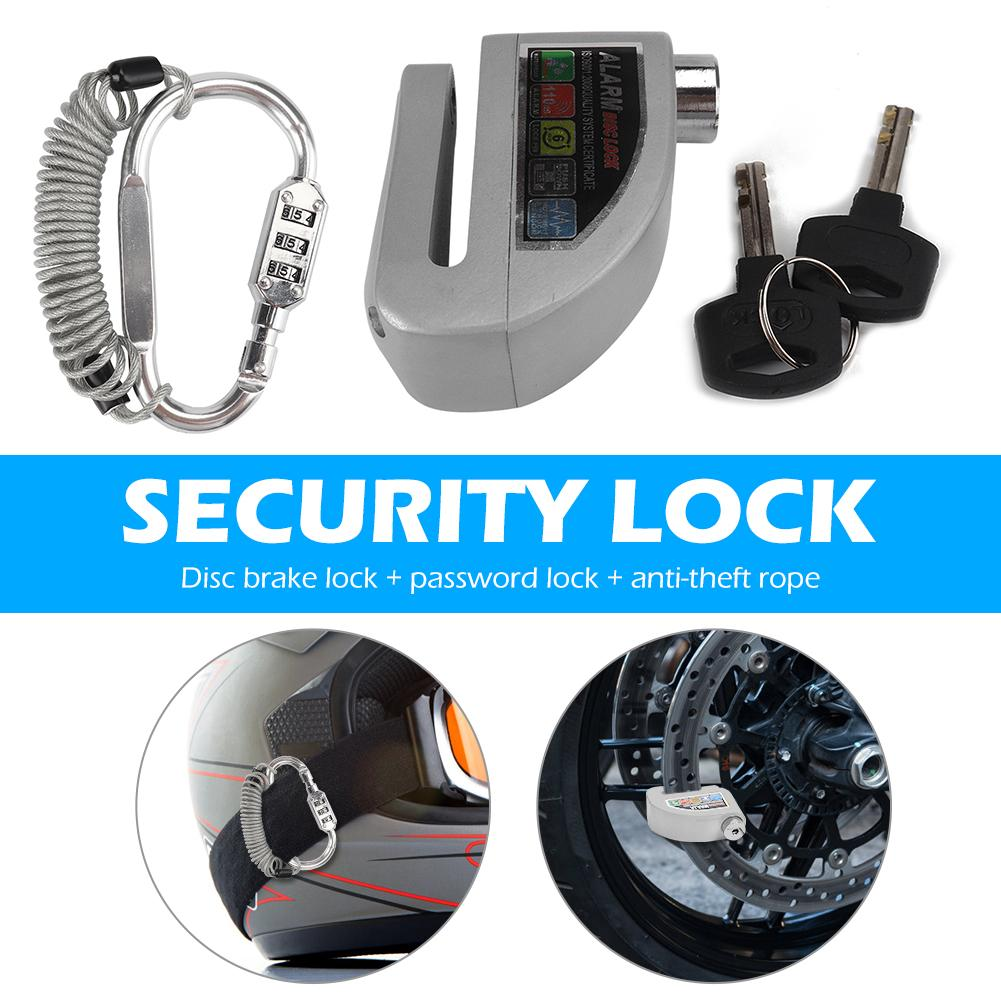 Helmet Combination Lock Motorcycle Alarm Disc Lock With Steel Wire Reminder Rope Lightness Portability Convenient Carrier