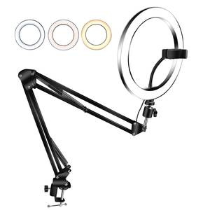 Ring-Light Scissor Arm-Stand Beauty-Lamp Desktop Live-Stream 10inch Phone Led with