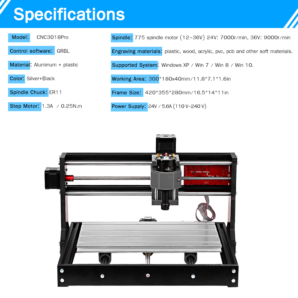 KKMOON 3018 Pro Laser Engraving Machine with GRBL ER11 Control