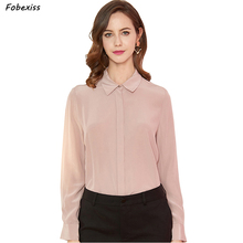 Blouses Women Fall 100% Natural Silk Crepe Chiffon Shirts Long Sleeve Elegant Pink Pure Cardigan Tops