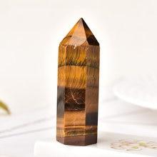 Varinha de cristal de quartzo natural 1 peça, para cura, artesanato em formato de olho de tigre, para decoração de casa, faça você mesmo, presente