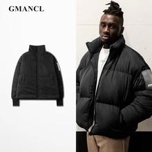 Зимняя мужская черная теплая Толстая парка с высоким воротником куртки-бомберы уличная негабаритная хип-хоп Повседневная ветрозащитная верхняя одежда пальто