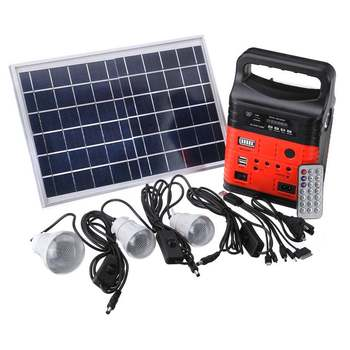 1 Set 10W Portable Solar Generator Outdoor Power Mini DC10W Solar Panel 6V-9Ah Lead-acid Battery Charging LED Lighting System - Russian Federation, Red