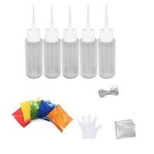 5 Bottles Kit Muti-Color Dyes Permanent Paint For DIY Arts ClotheS Fabric 50ML
