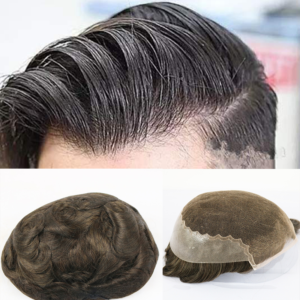 French Lace Toupee Men Lace Front With Poly Back Men Toupee Replacement Systems Hairpieces Wave Men Wigs