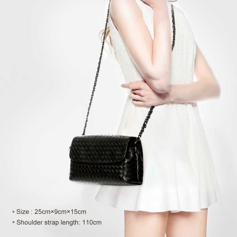 Bolsa de ombro feminina couro casual-estilo de luxo marca design saco moda simples corrente pequena bolsa 100% pele de carneiro tecido 2020 novo