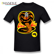 цена на Cobra Kai T Shirt Cartoon Print Cobra Kai T-Shirt Short Sleeves Man Tee Shirt Printed XXX Casual Cute 100 Cotton Tshirt