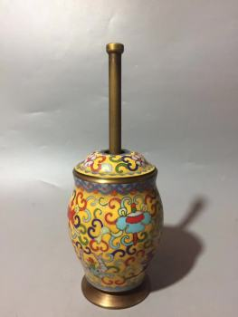 Chinese Cloisonne Carved Flower Copper Statue Brass Grinder Jar Healthy Longevity Home Furnishing Decoration