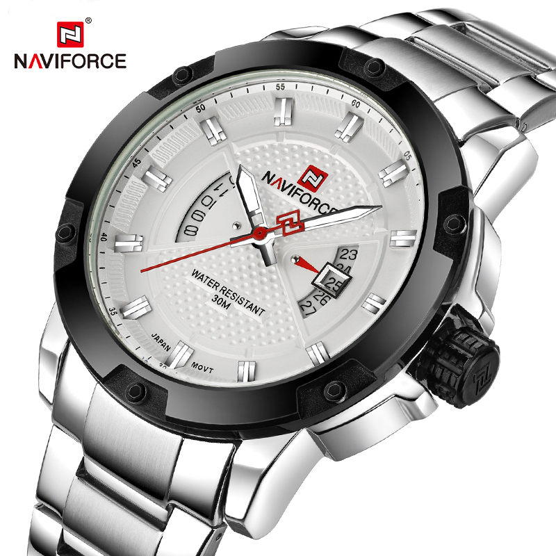 NAVIFORCE Mens Watches Top Luxury Brand Men Full Steel Date Quartz Watch Analog Waterproof Sports Army Military WristWatch Clock