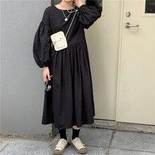 Осеннее Длинное Элегантное плиссированное платье с пышными рукавами и круглым вырезом, однотонное, более размера d, элегантное, корейское, повседневное, большие размеры