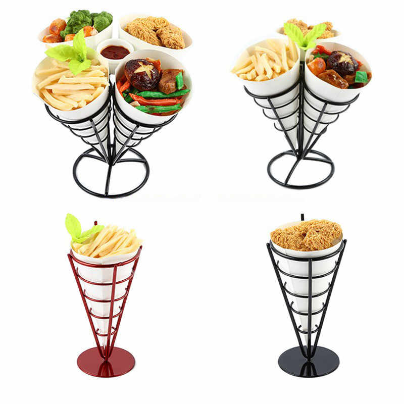 Acier inoxydable frites support collations affichage Pizza cône support frites paniers Sauce salade trempage tasse cuisine outil